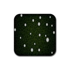 Graphics Green Leaves Star White Floral Sunflower Rubber Square Coaster (4 Pack)  by Alisyart