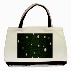 Graphics Green Leaves Star White Floral Sunflower Basic Tote Bag (two Sides) by Alisyart