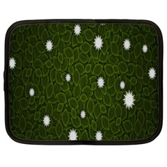 Graphics Green Leaves Star White Floral Sunflower Netbook Case (large) by Alisyart