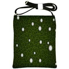 Graphics Green Leaves Star White Floral Sunflower Shoulder Sling Bags by Alisyart
