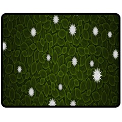 Graphics Green Leaves Star White Floral Sunflower Fleece Blanket (medium)  by Alisyart