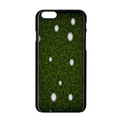 Graphics Green Leaves Star White Floral Sunflower Apple Iphone 6/6s Black Enamel Case by Alisyart
