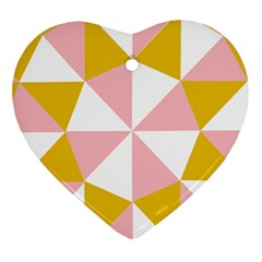 Learning Connection Circle Triangle Pink White Orange Ornament (heart) by Alisyart