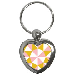 Learning Connection Circle Triangle Pink White Orange Key Chains (heart)  by Alisyart