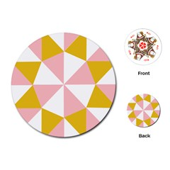 Learning Connection Circle Triangle Pink White Orange Playing Cards (round)  by Alisyart