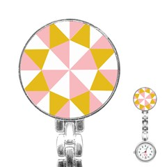 Learning Connection Circle Triangle Pink White Orange Stainless Steel Nurses Watch by Alisyart