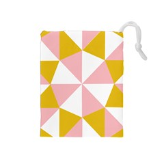 Learning Connection Circle Triangle Pink White Orange Drawstring Pouches (medium)  by Alisyart