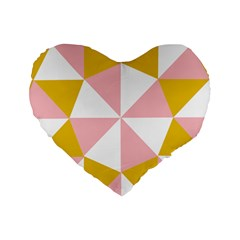 Learning Connection Circle Triangle Pink White Orange Standard 16  Premium Flano Heart Shape Cushions by Alisyart