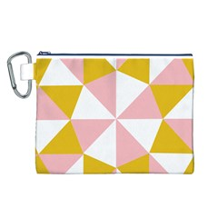 Learning Connection Circle Triangle Pink White Orange Canvas Cosmetic Bag (l) by Alisyart
