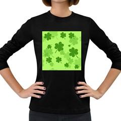 Leaf Clover Green Line Women s Long Sleeve Dark T Shirts