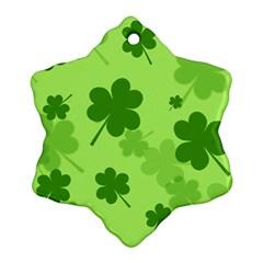 Leaf Clover Green Line Ornament (snowflake) by Alisyart