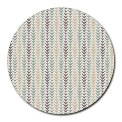 Leaf Triangle Grey Blue Gold Line Frame Round Mousepads by Alisyart