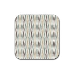 Leaf Triangle Grey Blue Gold Line Frame Rubber Square Coaster (4 Pack)  by Alisyart