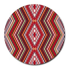 Indian Pattern Sweet Triangle Red Orange Purple Rainbow Round Mousepads by Alisyart