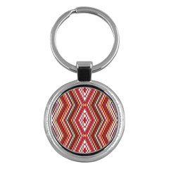 Indian Pattern Sweet Triangle Red Orange Purple Rainbow Key Chains (round)  by Alisyart