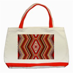 Indian Pattern Sweet Triangle Red Orange Purple Rainbow Classic Tote Bag (red) by Alisyart