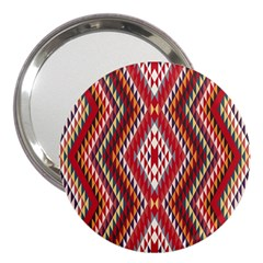 Indian Pattern Sweet Triangle Red Orange Purple Rainbow 3  Handbag Mirrors by Alisyart