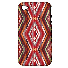 Indian Pattern Sweet Triangle Red Orange Purple Rainbow Apple Iphone 4/4s Hardshell Case (pc+silicone) by Alisyart