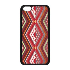 Indian Pattern Sweet Triangle Red Orange Purple Rainbow Apple Iphone 5c Seamless Case (black) by Alisyart