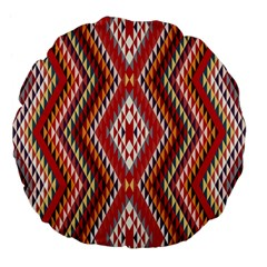Indian Pattern Sweet Triangle Red Orange Purple Rainbow Large 18  Premium Flano Round Cushions by Alisyart