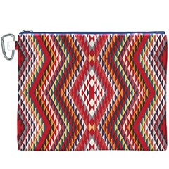 Indian Pattern Sweet Triangle Red Orange Purple Rainbow Canvas Cosmetic Bag (xxxl) by Alisyart