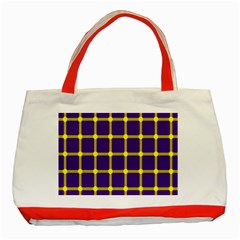 Optical Illusions Circle Line Yellow Blue Classic Tote Bag (red) by Alisyart