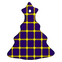 Optical Illusions Circle Line Yellow Blue Christmas Tree Ornament (two Sides) by Alisyart