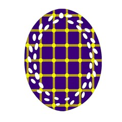 Optical Illusions Circle Line Yellow Blue Ornament (oval Filigree) by Alisyart
