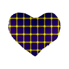 Optical Illusions Circle Line Yellow Blue Standard 16  Premium Heart Shape Cushions by Alisyart