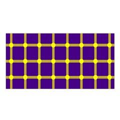 Optical Illusions Circle Line Yellow Blue Satin Shawl by Alisyart