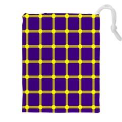 Optical Illusions Circle Line Yellow Blue Drawstring Pouches (xxl) by Alisyart