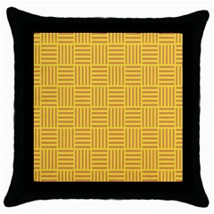 Plaid Line Orange Yellow Throw Pillow Case (black) by Alisyart