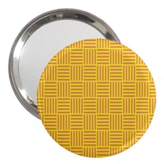 Plaid Line Orange Yellow 3  Handbag Mirrors by Alisyart