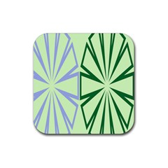 Starburst Shapes Large Green Purple Rubber Coaster (square)  by Alisyart