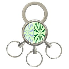 Starburst Shapes Large Green Purple 3 Ring Key Chains by Alisyart