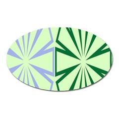 Starburst Shapes Large Green Purple Oval Magnet by Alisyart