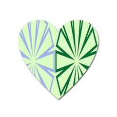 Starburst Shapes Large Green Purple Heart Magnet by Alisyart