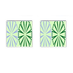 Starburst Shapes Large Green Purple Cufflinks (square) by Alisyart