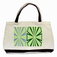 Starburst Shapes Large Green Purple Basic Tote Bag by Alisyart
