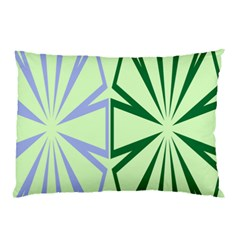 Starburst Shapes Large Green Purple Pillow Case by Alisyart