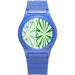 Starburst Shapes Large Green Purple Round Plastic Sport Watch (s) by Alisyart