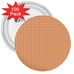 Orange Tablecloth Plaid Line 3  Buttons (100 Pack)  by Alisyart