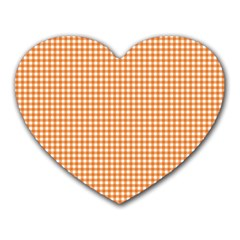Orange Tablecloth Plaid Line Heart Mousepads by Alisyart