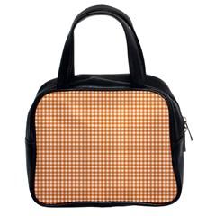 Orange Tablecloth Plaid Line Classic Handbags (2 Sides)