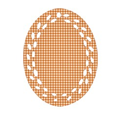 Orange Tablecloth Plaid Line Ornament (oval Filigree) by Alisyart