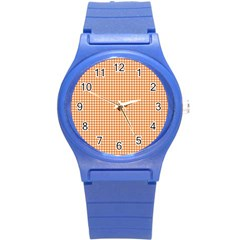 Orange Tablecloth Plaid Line Round Plastic Sport Watch (s) by Alisyart