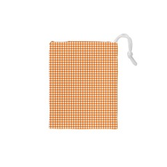 Orange Tablecloth Plaid Line Drawstring Pouches (xs)  by Alisyart