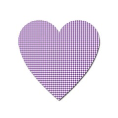 Purple Tablecloth Plaid Line Heart Magnet by Alisyart