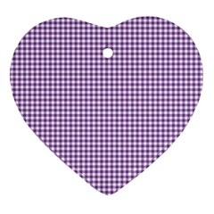 Purple Tablecloth Plaid Line Heart Ornament (two Sides) by Alisyart