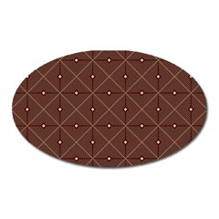 Coloured Line Squares Plaid Triangle Brown Line Chevron Oval Magnet by Alisyart